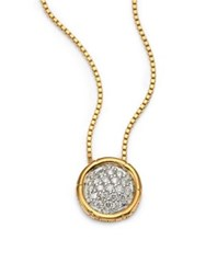 John Hardy Bamboo Small Diamond And 18K Yellow Gold Round Pendant Necklace