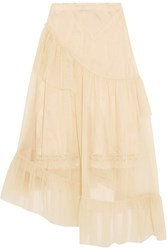 Simone Rocha Asymmetric Ruffled Tulle Midi Skirt Neutral