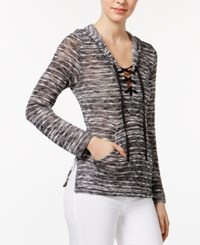 Chelsea Sky Printed Lace Up Hoodie Only At Macy's White Black
