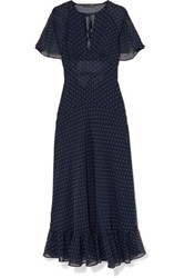 Alexachung Cape Effect Ruffled Polka Dot Crepe Dress Navy