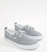 Asos Design Wide Fit Boat Shoes In Grey Marl
