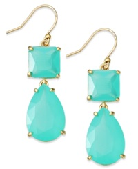 Kate Spade New York Gold Tone Colorful Stone Double Drop Earrings