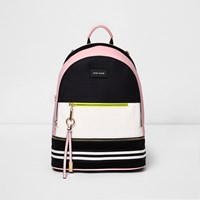 River Island Womens Black And Pink Neoprene Backpack