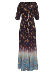 Marc Jacobs Victorian Print Crepe De Chine Dress Navy Print