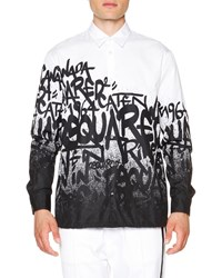 Dsquared2 Graffiti Print Button Down Shirt White Black
