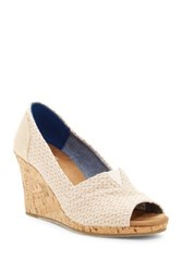 Toms Natural Woven Triangle Cork Wedge Sandal Beige