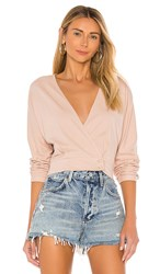 Amuse Society Shandie Long Sleeve Knit Top In Brown. Taupe