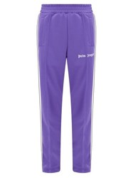 Palm Angels Logo Print Striped Track Pants Purple White