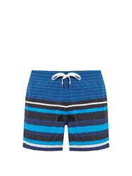 Danward Square And Striped Print Swim Shorts Navy