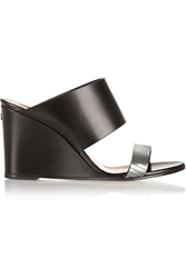 Karl Lagerfeld Metallic Trimmed Leather Wedge Sandals
