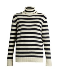 Saint Laurent Roll Neck Striped Cashmere Sweater Blue White
