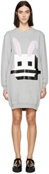 Mcq By Alexander Mcqueen Grey French Terry Bunny Dress