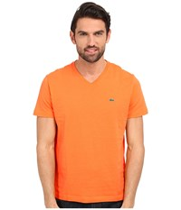 Lacoste S S Pima Jersey V Neck T Shirt Brugnon Orange Men's Short Sleeve Pullover