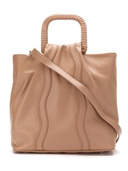 Sarah Chofakian Leather Bag With Gathered Detail Nude And Neutrals