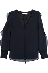 See By Chloe Ruffle Trimmed Organza Blouse Navy