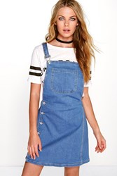 Boohoo Side Button Denim Pinafore Blue