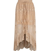 River Island Womens Beige Mesh Embroidered Maxi High Low Skirt