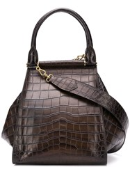Max Mara Crocodile Effect Tote Brown