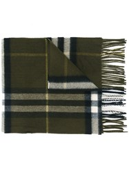 Burberry Fringed Checked Scarf Grey