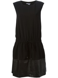 Vince Leather Panel Sleeveless Dress Black