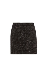 Tibi High Rise Wool Blend Tweed Mini Skirt Dark Grey