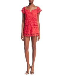 Yumi Kim Best Day Lace Romper Medium Red