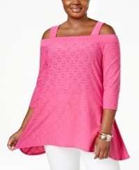 Ny Collection Plus Size Eyelet Cold Shoulder Top Pink Floradot