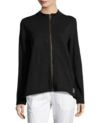 Xcvi Paloma Zip Front Knit Jacket Black