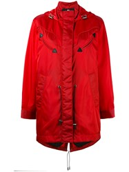 Coach Western Parka Coat Women Leather Polyamide Polyester 6 Red