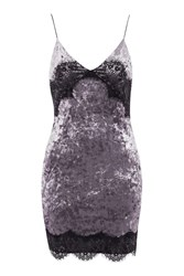 Topshop Velvet Lace Trim Slip Dress Mauve