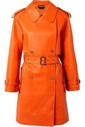 Tom Ford Woman Leather Trench Coat Bright Orange