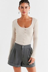 Urban Outfitters Uo Pleated Buckle Twill Short Slate