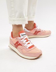 Saucony Dxn Vintage Pink And Red Trainers