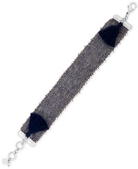 Lucky Brand Silver Tone Bead And Tassel Fabric Flex Bracelet
