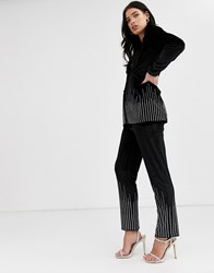 Fashion Union Velvet Trouser Coord With Diamante Scattered Trim Black