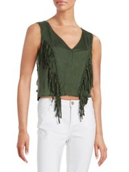 Design Lab Lord And Taylor Fringed Faux Suede Cropped Top Green