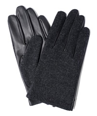 Lanvin Charcoal Wool And Leather Glove