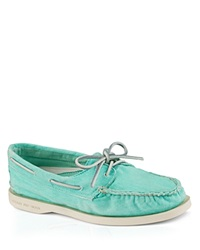 Sperry Flat Lace Up Boat Shoes A O Washed Light Blue