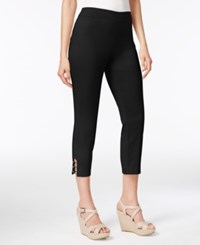 Jm Collection Pull On Lattice Inset Capri Pants Only At Macy's Deep Black
