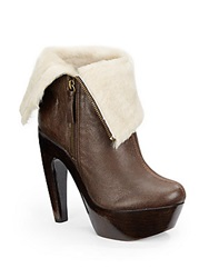 Alice Olivia Anika Shearling Cuff Ankle Boots Chestnut