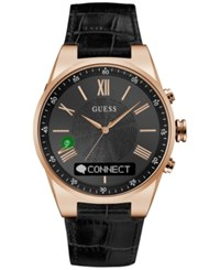 Guess Men's Connect Black Leather Strap Smart Watch 45Mm C0002mb3