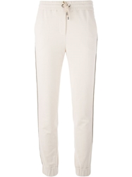 Brunello Cucinelli Chain Trim Track Pants Nude And Neutrals