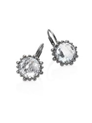 Anzie Dew Drop White Topaz Snowflake Earrings Gunmetal