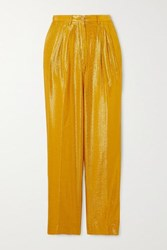 Forte Forte Cropped Metallic Jacquard Tapered Pants Gold