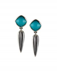 Lagos Turquoise Doublet Earrings W Fluted Drop Blue