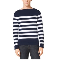 Michael Kors Striped Cotton And Cashmere Boatneck Sweater Indigo