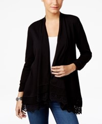 Style And Co Open Front Crochet Hem Cardigan Only At Macy's Deep Black