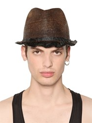 Move Vintage Effect Straw And Leather Hat