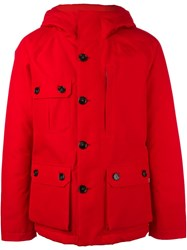 Woolrich Hooded Zip Coat Red