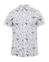 Ted Baker Men's Loyaal Leaf And Bird Print Cotton Shirt White